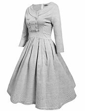 Women 50s Shawl Collar Double-breasted Plaid Party Pleated Swing Vintage Dress