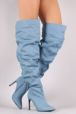 Denim Thigh High Over Knee Slouchy Oversized Pointy Toe High Heel Boots - Blue