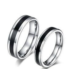 Couple Rings Titanium Steel Black&Silver Lover's Wedding Engagement Promise Band
