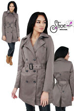 NEW WOMENS LADIES DOUBLE BREASTED TRENCH JACKET BUCKLE BELTED  MAC LONG COAT
