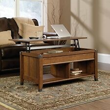 Wood Rectangle Coffee Table Cherry Finish Hidden Storage Lift-Top Furniture