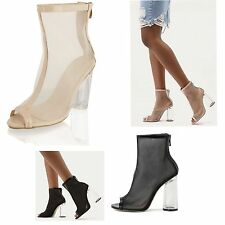 Womens Ladies Peep Toe Perspex Clear Block Heel Mesh Nude Ankle Boots Shoes Size