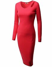 Doublju Womens Long Sleeve Slim Fit Cut Out Shoulder Midi Dress