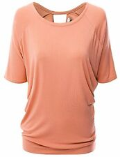 Doublju Womens Short Sleeve Round Neck Draped Open-Back Top - Choose SZ/Color