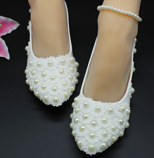 new Lace white pearl Wedding shoes Bridal flats low high heel pump size 4.5-10