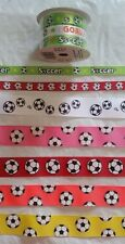 "SOCCER GROSGRAIN RIBBON - 3/8"" OR 7/8"" 1 YARD - SPORTS - BALL - HAIRBOWS -FUTBOL"