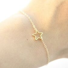 Girls Womens Gold or Silver Plated Simple Star Chain Bracelet