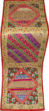ANTIQUE SARI BEADED PATCH EMBROIDER WALL DECOR TAPESTRY TABLE RUNNER INDIAN ART