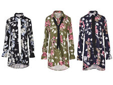 Womens Ladies Floral Print Blouse Shirt With Tie Neck Pussy Bow Top