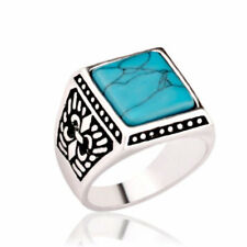 NEW MEN'S ANTIQUED WESTERN SIGNET RING SQUARE TURQUOISE SILVER BAND SIZE 7-10