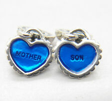 Authentic S925 Sterling Silver Mother Son Piece of my heart Dangle Enamel Charm
