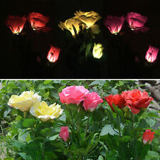 Solar Power Lily Rose Flower Outdoor Garden Stake Landscape LED Lamp Yard Light