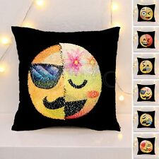 Reversible Mermaid Pillow Emoji Sequin Cover Smile Face Cushion Case Home Decor