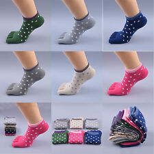 Polka Dot toe socks deodorant Cotton ankle socks women breathable boat toe socks