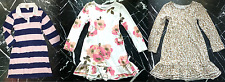 OLD NAVY Girls Animal Print Floral RUFFLED HEM Stripe Long Sleeve Knit DRESS 5 7