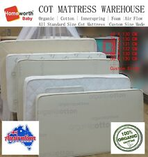 New Baby COT MATTRESS Australia Made Organic Innerspring Cotton & Protector Deal
