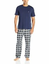 Nautica Mens Sleepwear PJ16F6 Plaid Flannel Pant and Short Sleeve