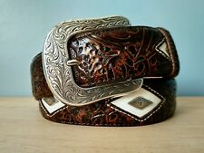 Justin Brown Diamond Sierra Tooled Western Leather Belt ~ Sizes 32 - 46 ~ NWT ~