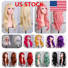 "14 Colors 27"" Ladies Full Wigs Long Wavy Curly Fancy Party Cosplay Hair Wig +Cap"