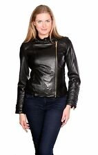 Kenneth Cole Motorcycle Leather Jacket Black