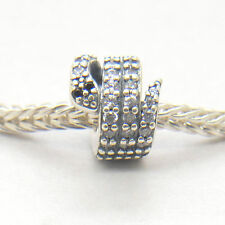 Authentic Genuine S925 Sterling Silver Sparkling Snake Clear CZ Charm