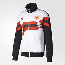 adidas Originals MANCHESTER UNITED FC TRACK MEN'S JACKET White/Black- XS, S Or M