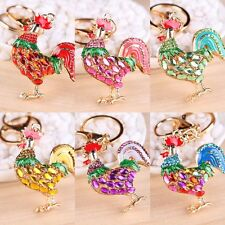 Chic Opals Cock Rooster Chicken Keychains Crystal Bag Pendant Key ring Jewelry