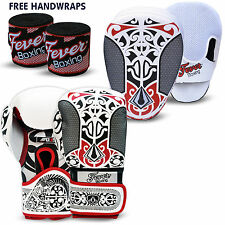 Professional Boxing Sparring Gloves Focus Pads Hook and Jab MMA Punch Bag WHITE