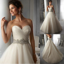 New Stock Tulle White Ivory Wedding Dress Bridal Gown Size 6 8 10 12 14 16 18