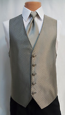 Chaps Mens Gold Tuxedo Striped Vest And Necktie Formal Prom Wedding All Size