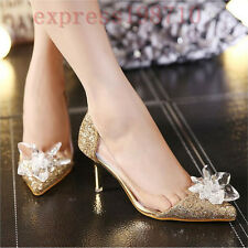 Fashion Womens Wedding Party Ladies Bowtie Pointy Toe Crystal Transparent Sandal