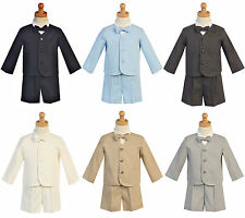 Baby Boys Eton Jacket Formal Suit w/ Shorts Shirt Bow Tie 4 Piece Outfit 6M-5