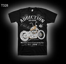 Mens T-Shirt SKULL FLAMES Tattoo BLACK Motorcycle Biker Vintage Shovelhead