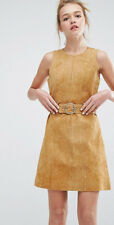 Monki (H&M Group) Suede Leather Shift Pinafore Dress UK 12 14 EU 38 40 LAST ONE!