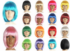 US Women Ladies Short Straight Party Wig Hair Fancy Cosplay Full Costume Wig+Cap