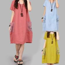 Fashion Womens Loose Fit Linen A-line Tunic Casual Summer Short Sleeve Dress New
