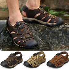 Men Genuine Leather Closed Toe Shoes Flat Sports Summer Beach Sandals Fashion