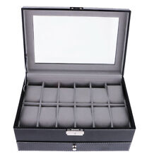12 Slots Watch Box Black PU Leather Display Glass Top Jewelry Case Organizer