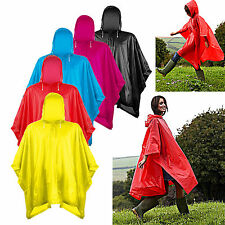 Unisex Adult Womens Mens Splashmac Hooded poncho Rain coat Festival Camping