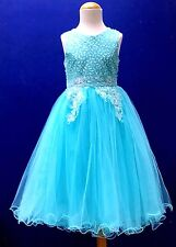 GIRLS GORGEOUS FLOWER EMBROIDERY LUXURIOUS PARTY DRESS 2 - 12 YEARS