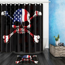 Skull Design Polyester Fabric Shower Curtain Liner Waterproof Bathroom Mat Set
