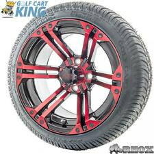 """14"""" RHOX SS RX354-BR Red Wheel and Low Profile Golf Cart Tire Combo Options"""
