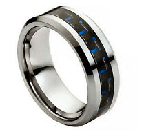 8mm Men Tungsten Carbide Blue Carbon Fiber Inlay Beveled Wedding Band Ring
