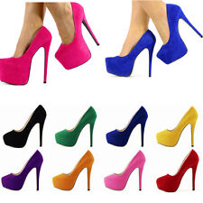 WOMENS PARTY PLATFORM PUMPS KILLER HIGH HEELS STILETTO COURT SHOES SIZE 4-7 NE