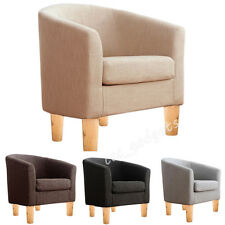 Cosy Linen Fabric Tub Chair Armchair Dining Living Room Lounge Suite Bedroom Bar