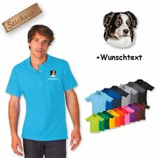 Polo Shirt Cotton Embroidered Embroidery Dog Australian Shepherd+Desired text