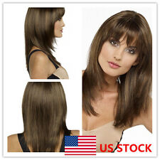 US Women Long Straight Brown Bangs Wig Hair Natural Party Cosplay Hair Full Wigs