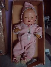 EFFANBEE VINTAGE RUBBER DY-DEE BABY DOLL IN SNOW SUIT NMIB WITH CLOTHES & ACCESS