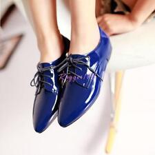 New Womens  Oxfords Pointed Toe Lace Up Flats casual  Shoes Faux Patent Leather