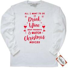 Inktastic Drink Wine And Watch Christmas Movies-red Long Sleeve T-Shirt Adult